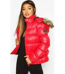 high shine hooded padded coat with faux fur trim, red