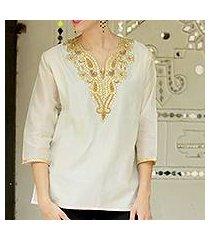 beaded cotton and silk tunic, 'morning princess' (india)
