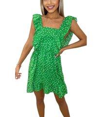 ax paris women's polka dot square neck frill dress