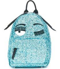 chiara ferragni wink embroidered glitter backpack - blue