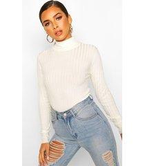 petite high neck fine knit rib sweater, cream