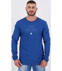 camiseta hang loose silk lettering manga longa azul - masculino
