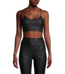 dkny sport women's tiger-print sports bra - black - size xs