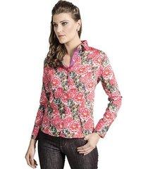 camisa carlos brusman feminina slim florida pink