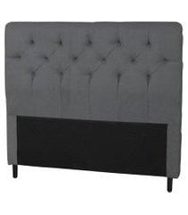 cabeceira casal 140cm para cama box ravena suede cinza - ds móveis