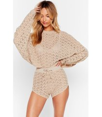 womens easy crochet out sweater and shorts lounge set - oatmeal
