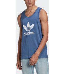 camiseta adidas regata trefoil originals azul