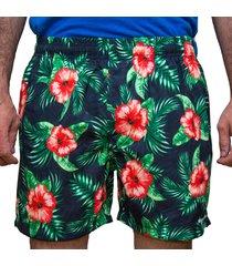 short de banho kevingston tyfon estampado flor hawaiiana preto microfibra peletizada