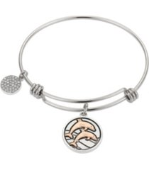 "unwritten ""in high tide"" dolphins adjustable bangle bracelet in stainless steel and rose gold two-tone fine silver plated charms"