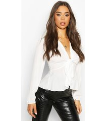 plunge tie front woven blouse, white