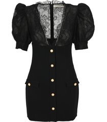alessandra rich lace details mini dress