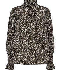 gesmokte blouse met bloemenprint mily  zwart