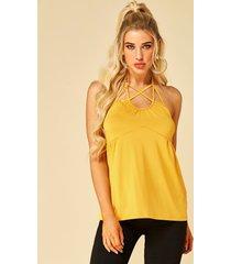 yoins amarillo sin espalda diseño camiseta sin mangas con cuello halter y lazo