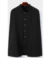 camisa de capa lisa con personalidad de moda de otoño informal para hombre