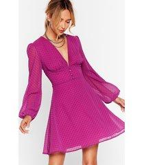 womens it's dot our fault button-down mini dress - magenta