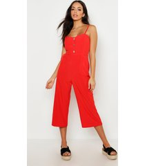 button front wide leg culotte jumpsuit, orange
