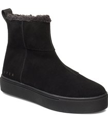 suede / pile boots shoes boots ankle boots ankle boots flat heel svart svea