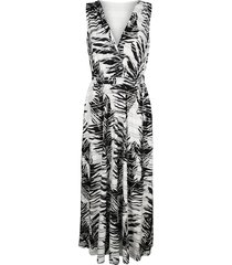 jersey jurk alba moda zwart::offwhite::zilverkleur