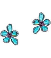 eye candy la women's luxe flower silvertone & crystal earrings