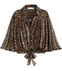 adyson parker women's 3/4 zebra print mesh tie blouse