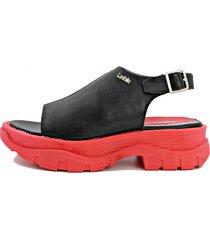 sandalia roja leblu  plataforma
