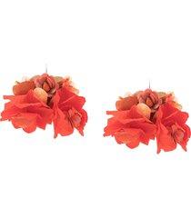 biyan oversized flower earrings - red