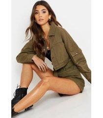 utility pocket crop jean jacket, khaki