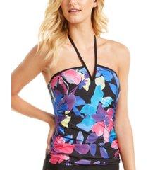 calvin klein printed v-wire bandeau halter tankini top women's swimsuit