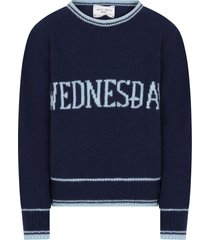 alberta ferretti blue girl sweater with light blue writing