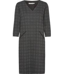 frmecheck 2 dress knälång klänning grå fransa