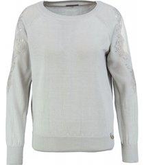 glamorous grijze trui met transparante mouw inzet