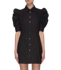 'gillian' puff sleeve poplin shirt dress