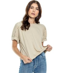 camiseta cuello redondo con terminaciones al corte estampado en espalda eco recycle color blue