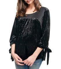 women's maternal america velvet babydoll maternity top, size large - black