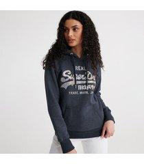 buzo hoodie cerrado para mujer vl stitch sequin entry hood br superdry