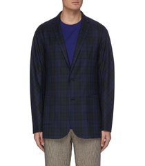 notch lapel check plaid wool blend blazer