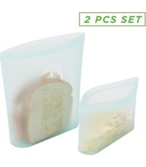 mind reader reusable 2 size silicone sandwich bag and snack bag