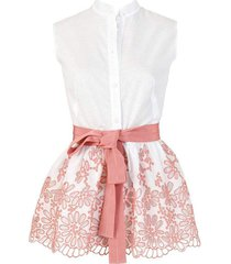 sleeveless cotton colony belted shirt