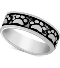 essentials paw print band ring in fine silver-plate