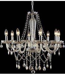 lustre candelabro de cristal maria tereza - 8 braã§os champanhe - bege - dafiti
