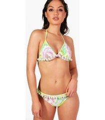 toledo neon citrus pom pom triangle bikini, green