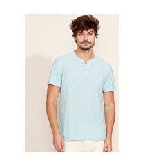 camiseta masculina básica manga curta gola portuguesa azul claro