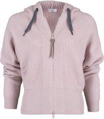 pastel pink english ribbed zip cardigan