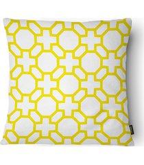 almofada decorativa realce 073 40x40cm amarela e branca