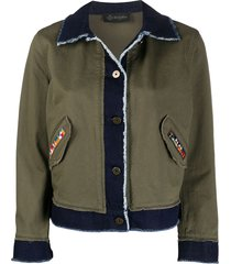 mr & mrs italy contrast panel frayed detail jacket - green