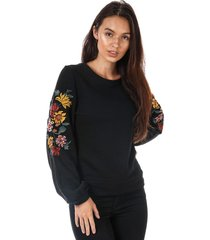 only womens anna embroidered crew sweatshirt size 4 in black