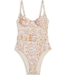 danielle belted one-piece swimsuit