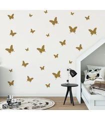 adesivo de parede borboletas douradas 25un cobre 1,5mâ² - dourado - menina - dafiti
