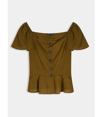blusa en lino con ecote cuadrado