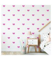 adesivo de parede de laços rosa pink 60un 7x6cm cobre 4m²
